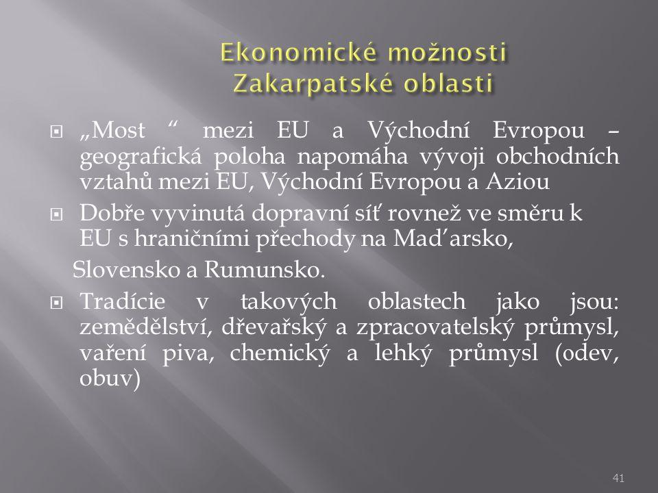 Ekonomické možnosti Zakarpatské oblasti