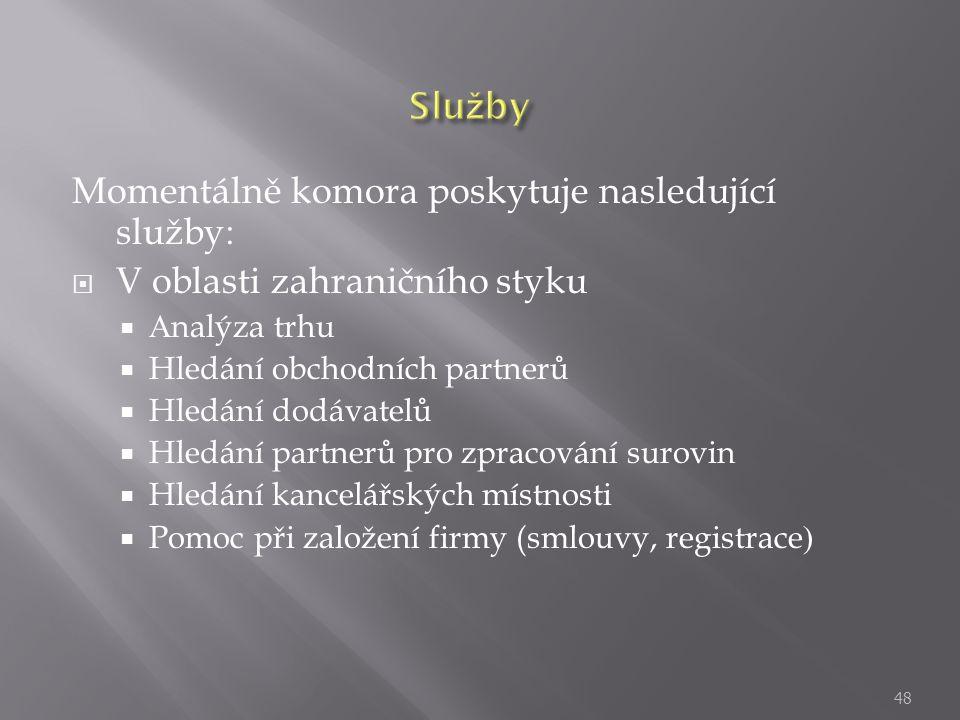 Momentálně komora poskytuje nasledující služby: