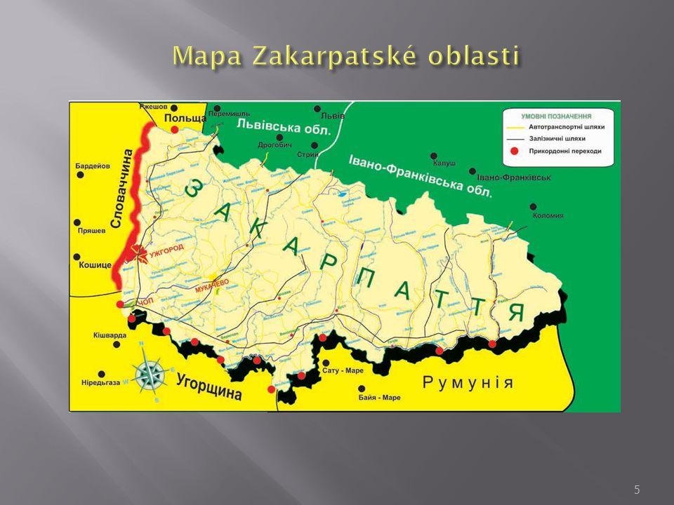 Mapa Zakarpatské oblasti