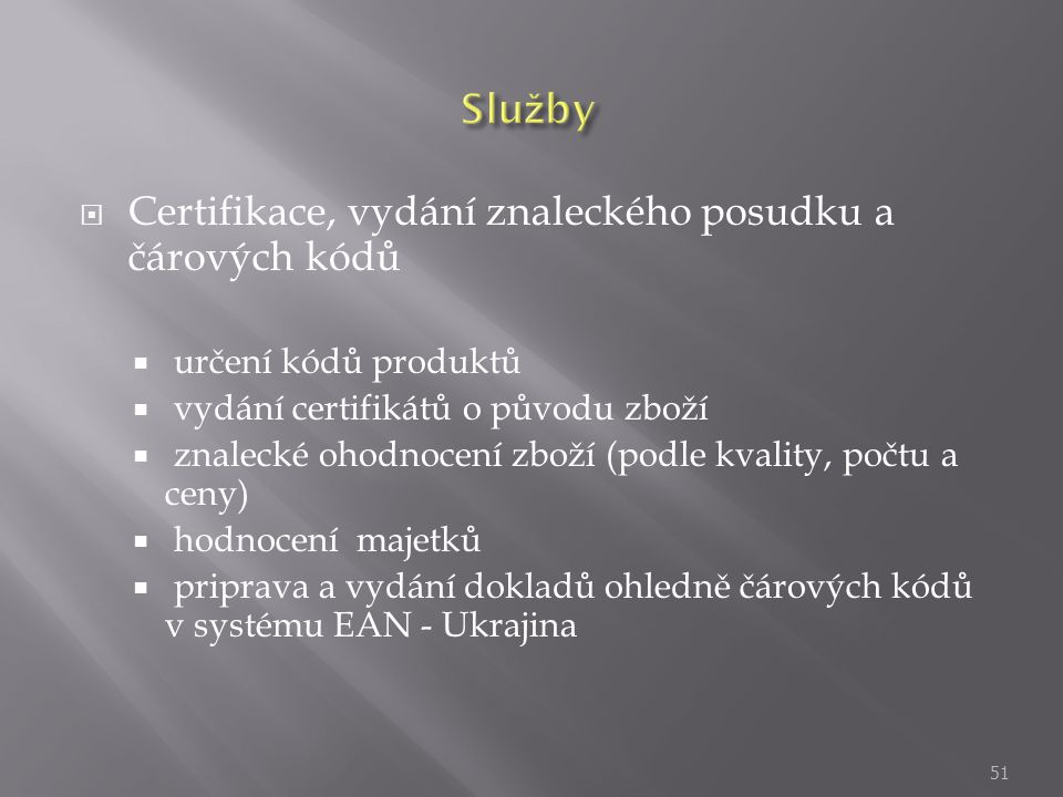 Certifikace, vydání znaleckého posudku a čárových kódů