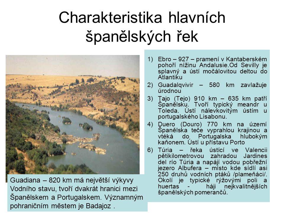 Charakteristika hlavních španělských řek