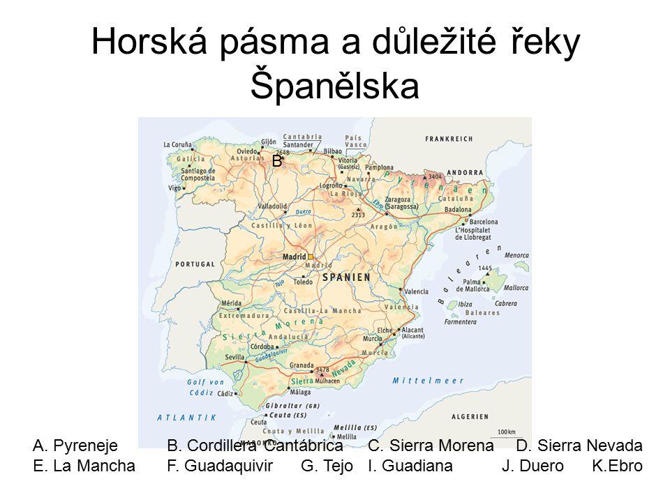 Horská pásma a důležité řeky Španělska