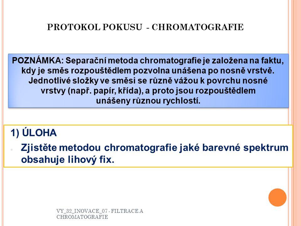 PROTOKOL POKUSU - CHROMATOGRAFIE
