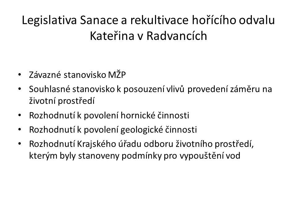 Legislativa Sanace a rekultivace hořícího odvalu Kateřina v Radvancích