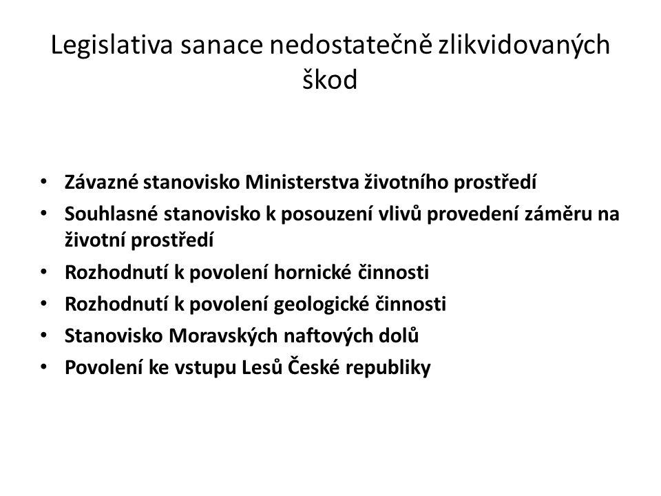 Legislativa sanace nedostatečně zlikvidovaných škod
