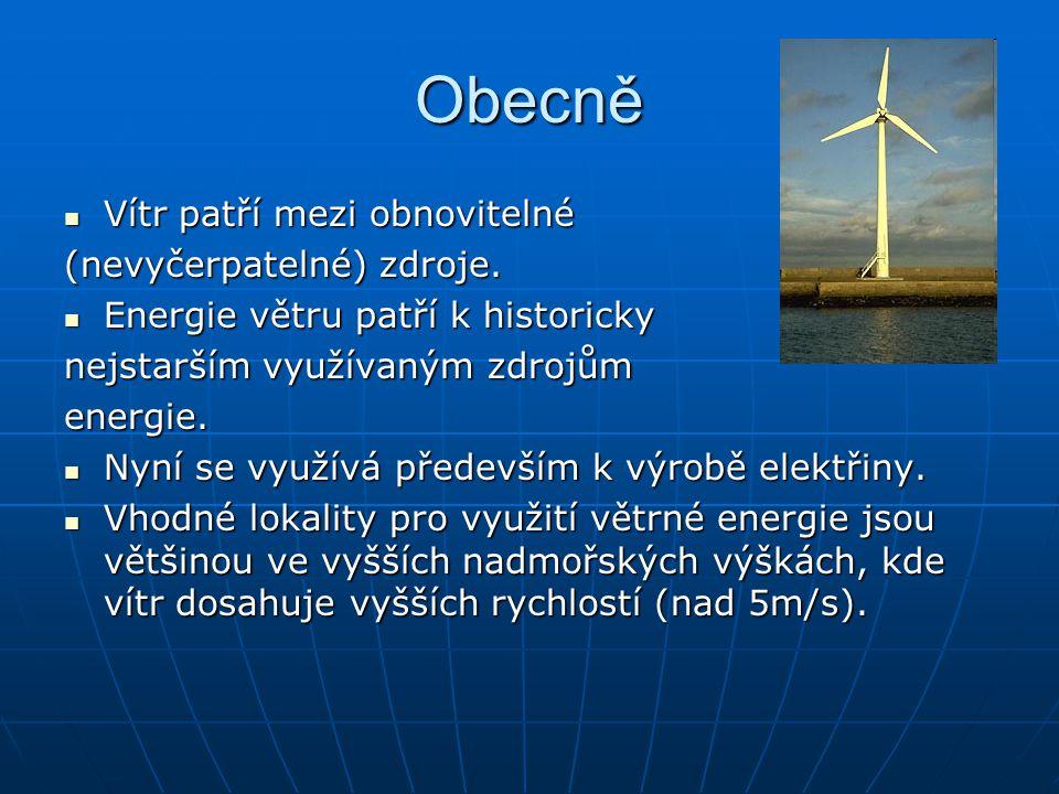 Obecně Vítr patří mezi obnovitelné (nevyčerpatelné) zdroje.