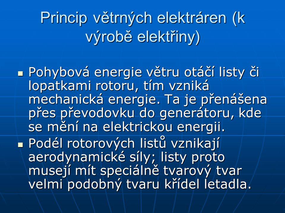 Princip větrných elektráren (k výrobě elektřiny)