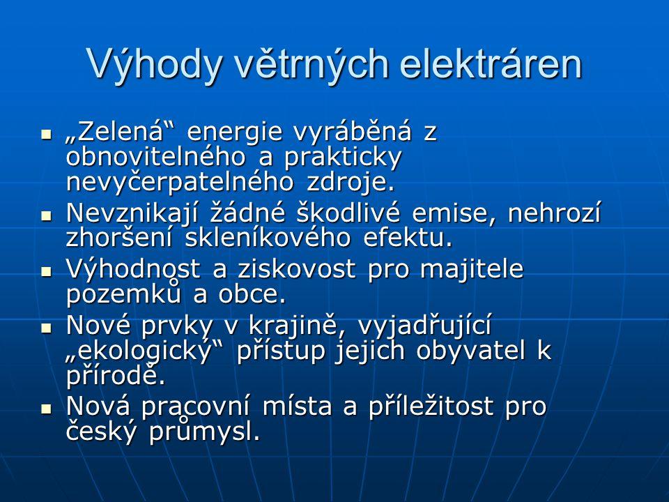 Výhody větrných elektráren