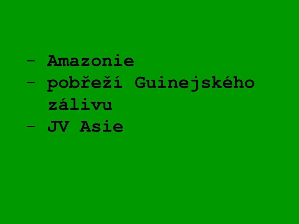 Amazonie - pobřeží Guinejského zálivu - JV Asie
