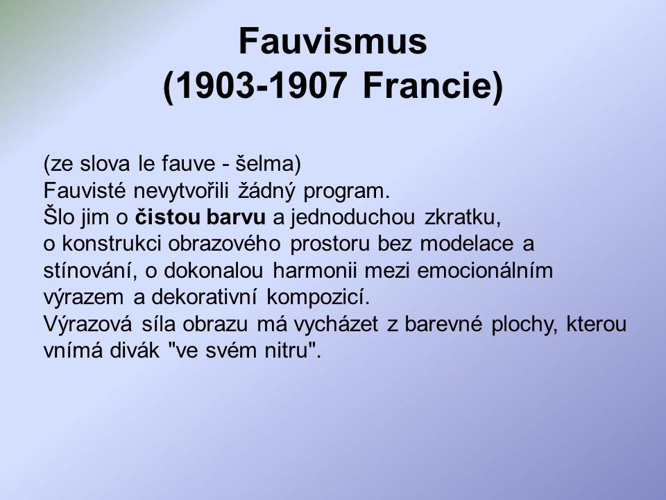Fauvismus (1903-1907 Francie) (ze slova le fauve - šelma) Fauvisté nevytvořili žádný program.