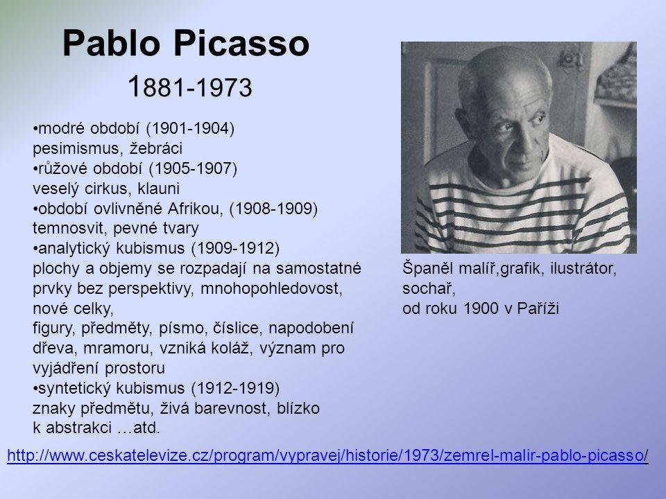 Pablo Picasso 1881-1973 modré období (1901-1904) pesimismus, žebráci