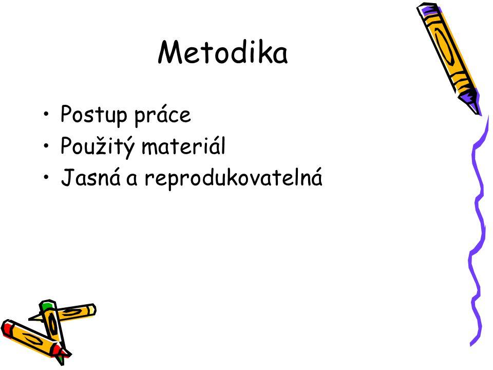 Metodika Postup práce Použitý materiál Jasná a reprodukovatelná