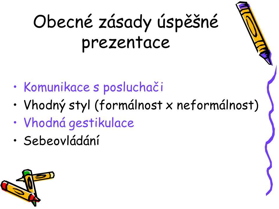 Obecné zásady úspěšné prezentace