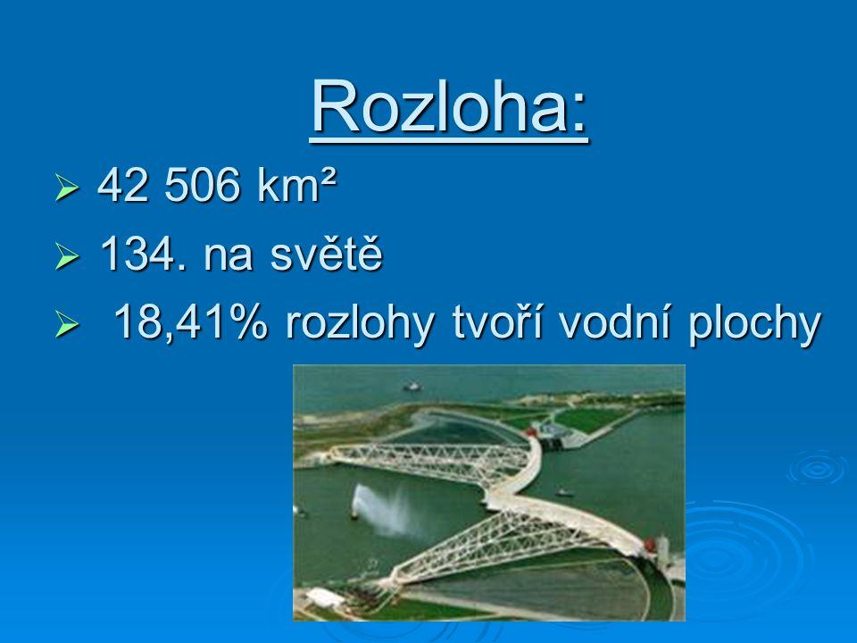Rozloha: 42 506 km² 134. na světě 18,41% rozlohy tvoří vodní plochy