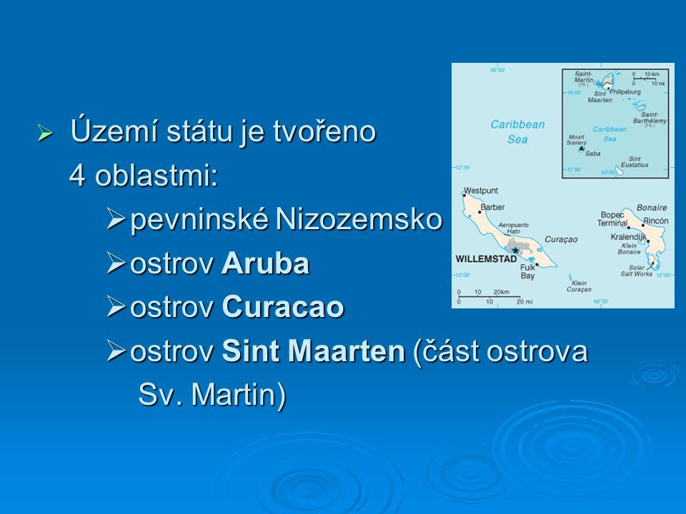 Území státu je tvořeno 4 oblastmi: pevninské Nizozemsko. ostrov Aruba. ostrov Curacao. ostrov Sint Maarten (část ostrova.
