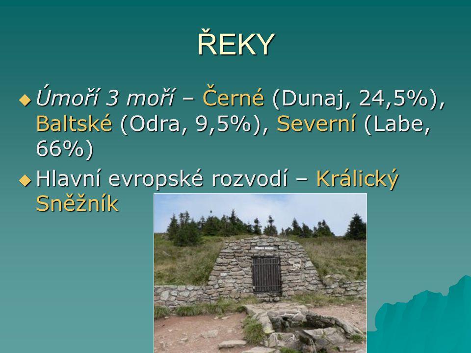 ŘEKY Úmoří 3 moří – Černé (Dunaj, 24,5%), Baltské (Odra, 9,5%), Severní (Labe, 66%) Hlavní evropské rozvodí – Králický Sněžník.