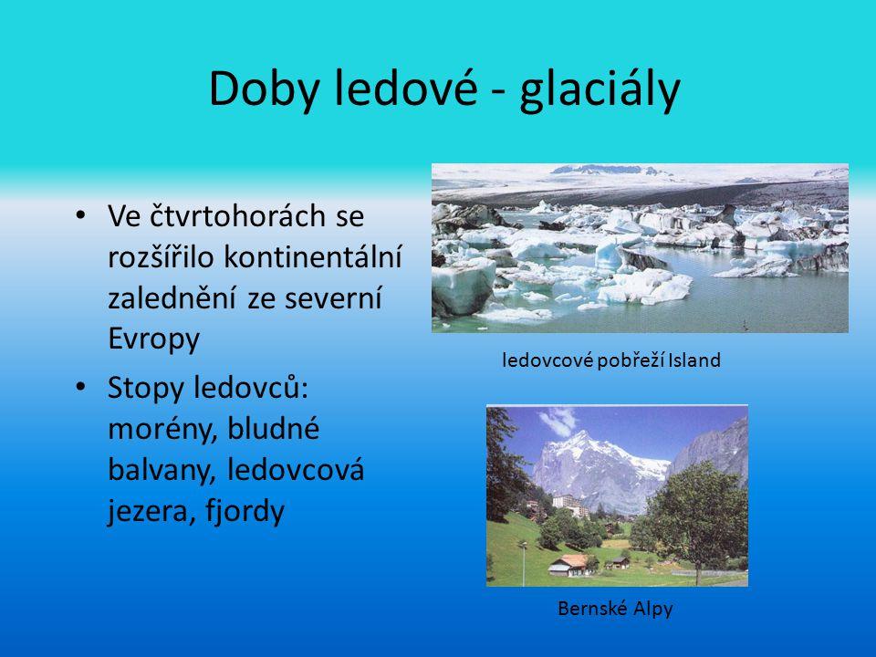 Doby ledové - glaciály Ve čtvrtohorách se rozšířilo kontinentální zalednění ze severní Evropy.