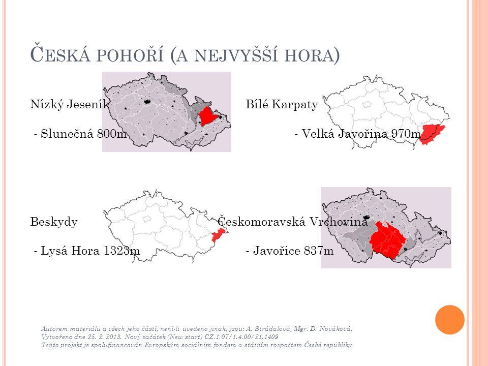 Česká pohoří (a nejvyšší hora)