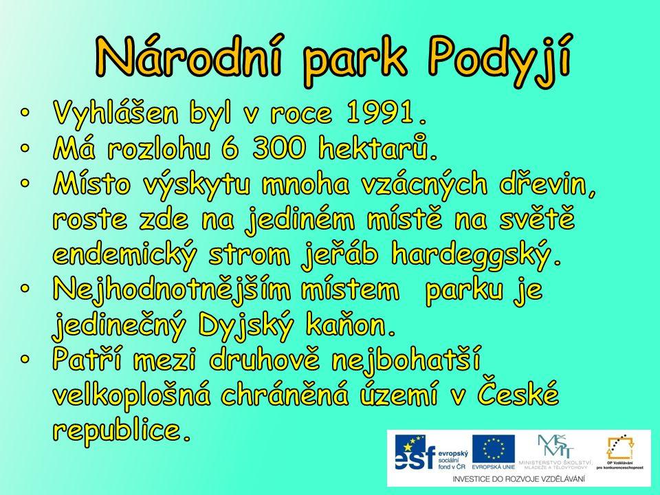 Národní park Podyjí Vyhlášen byl v roce 1991.