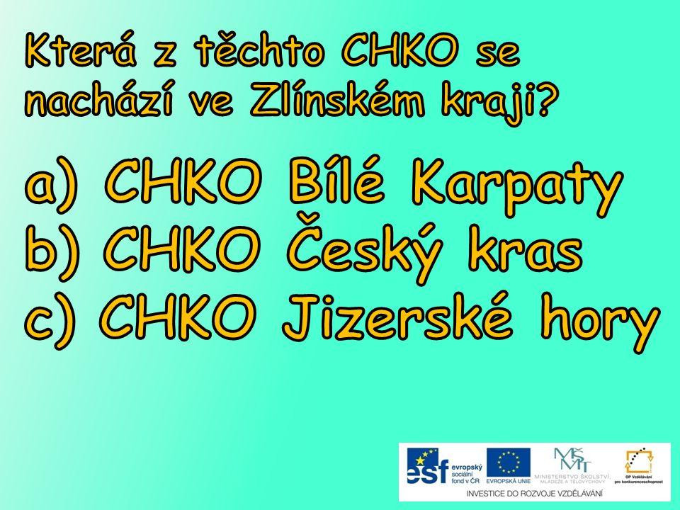 CHKO Bílé Karpaty b) CHKO Český kras c) CHKO Jizerské hory
