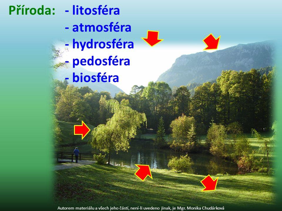Příroda: - litosféra - atmosféra - hydrosféra - pedosféra - biosféra