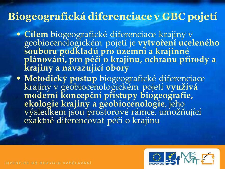 Biogeografická diferenciace v GBC pojetí