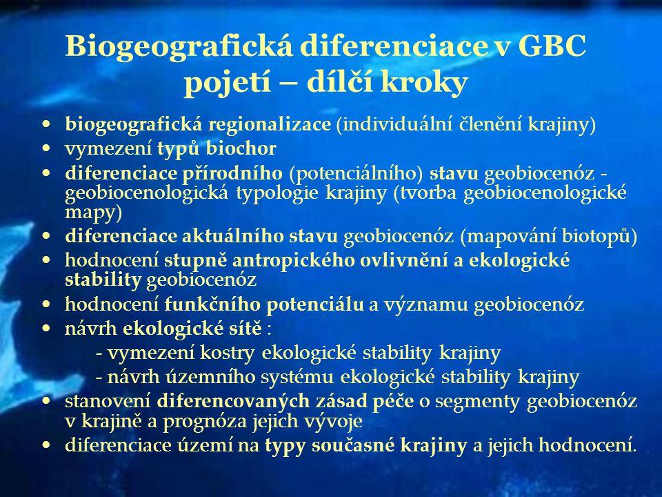 Biogeografická diferenciace v GBC pojetí – dílčí kroky