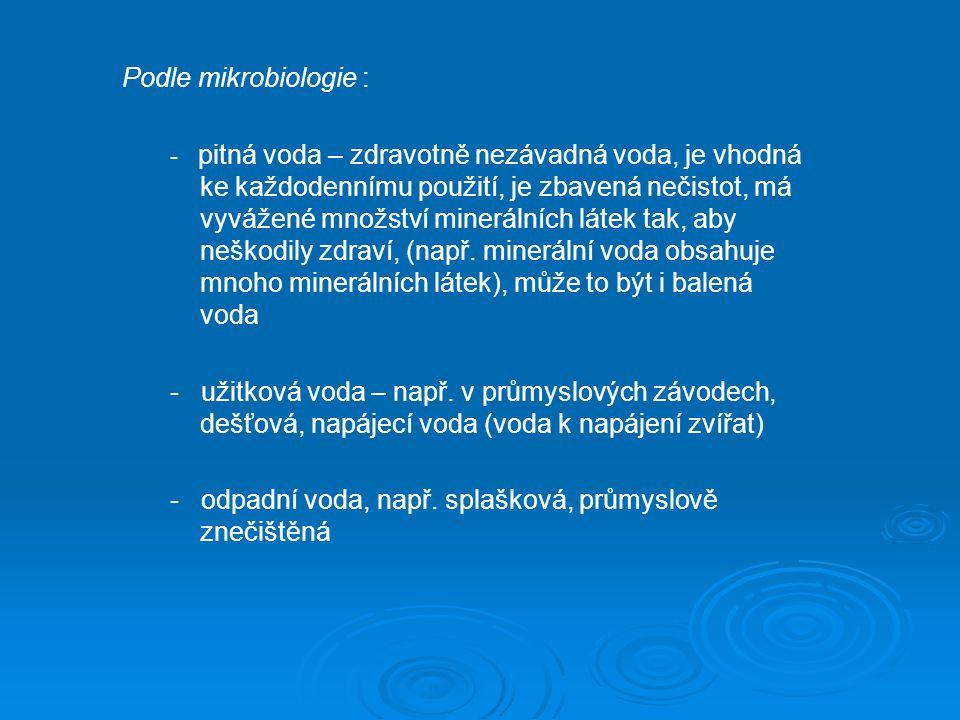 - odpadní voda, např. splašková, průmyslově znečištěná