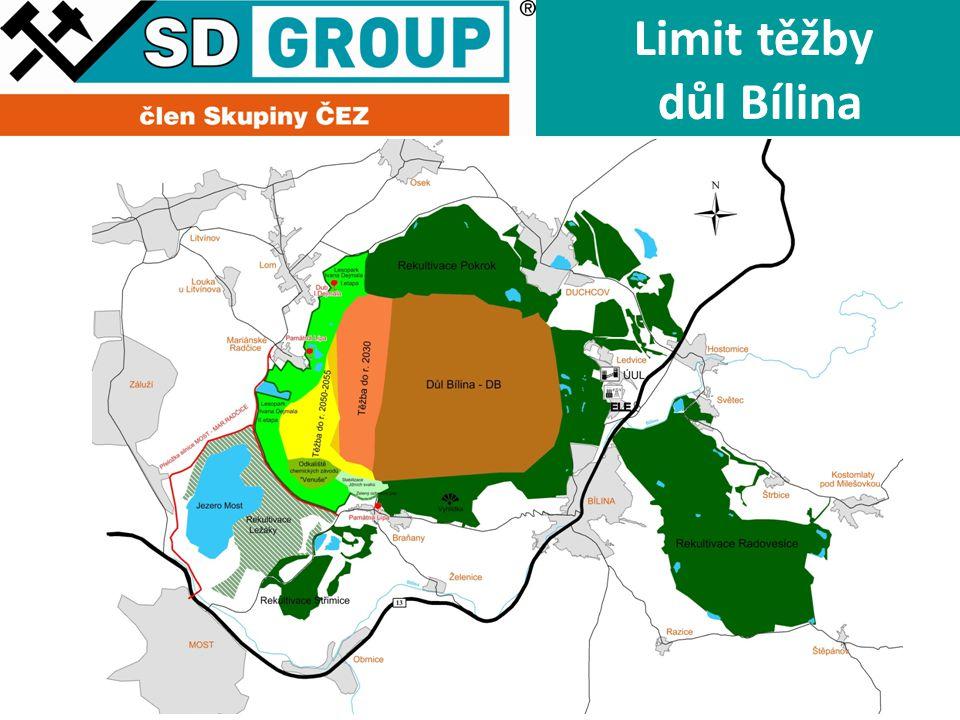 Limit těžby důl Bílina Hranice DP Uhlí Uhlí