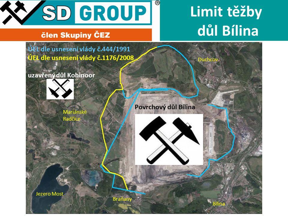 Limit těžby důl Bílina ÚEL dle usnesení vlády č.444/1991