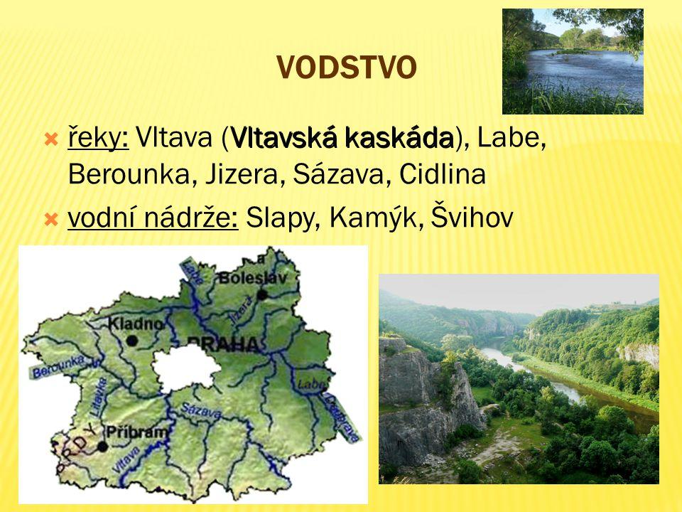 Vodstvo řeky: Vltava (Vltavská kaskáda), Labe, Berounka, Jizera, Sázava, Cidlina.