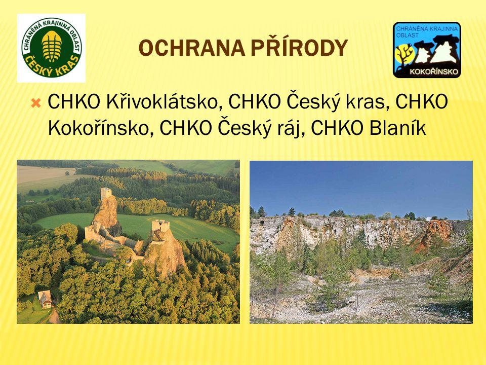 Ochrana přírody CHKO Křivoklátsko, CHKO Český kras, CHKO Kokořínsko, CHKO Český ráj, CHKO Blaník