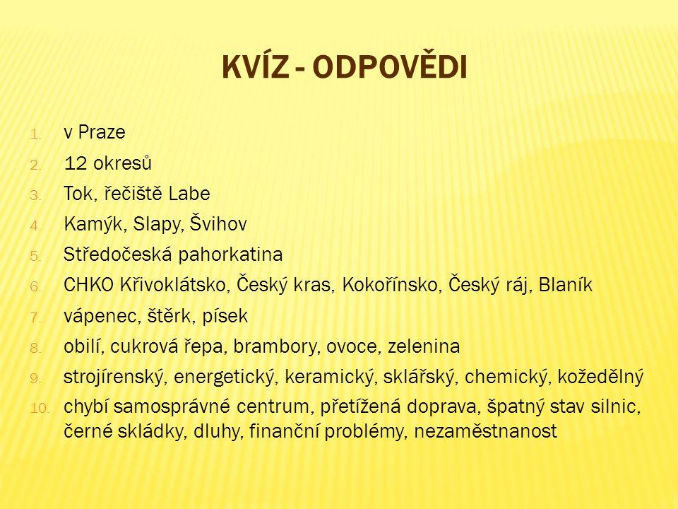 Kvíz - odpovědi v Praze 12 okresů Tok, řečiště Labe