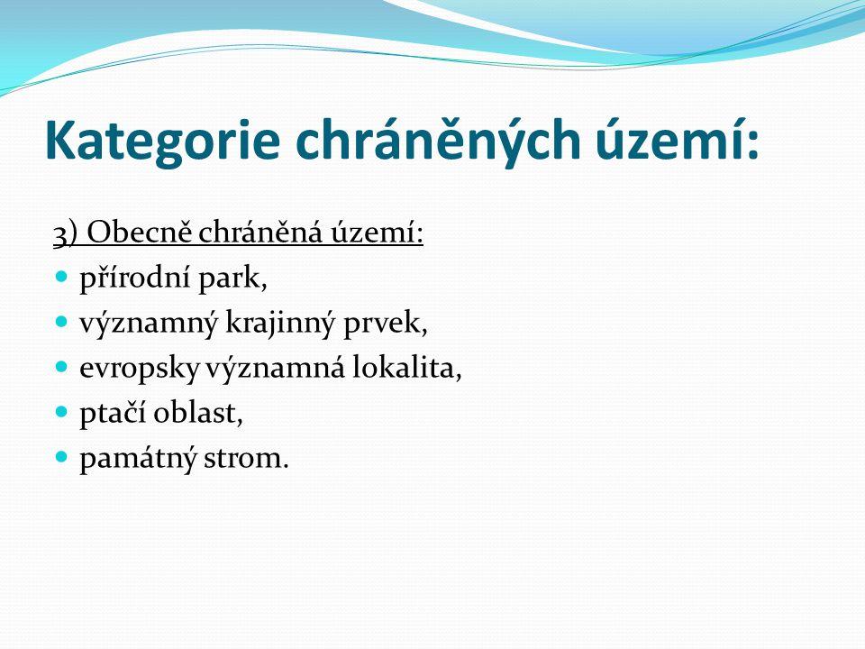 Kategorie chráněných území: