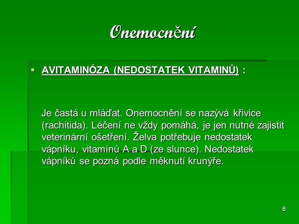 Onemocnění AVITAMINÓZA (NEDOSTATEK VITAMINŮ) :