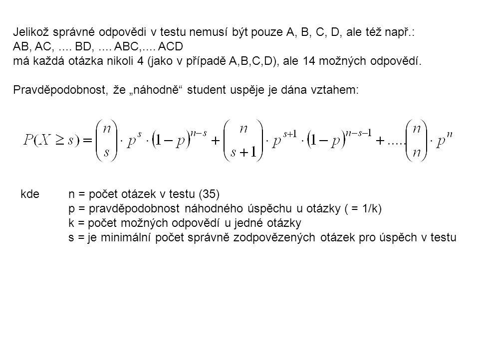 Jelikož správné odpovědi v testu nemusí být pouze A, B, C, D, ale též např.: