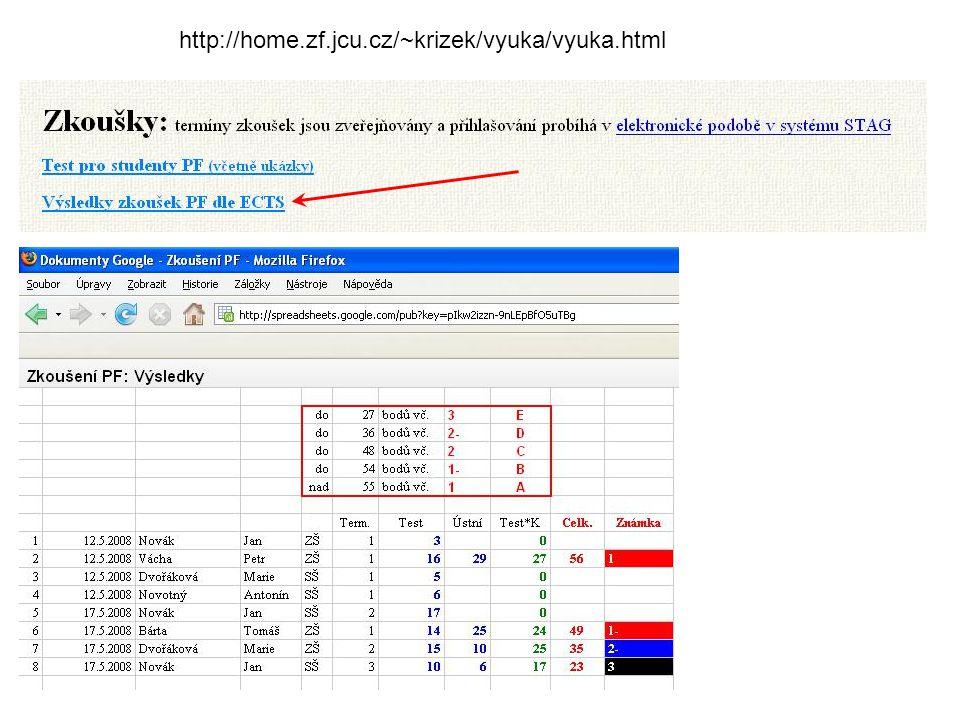 http://home.zf.jcu.cz/~krizek/vyuka/vyuka.html
