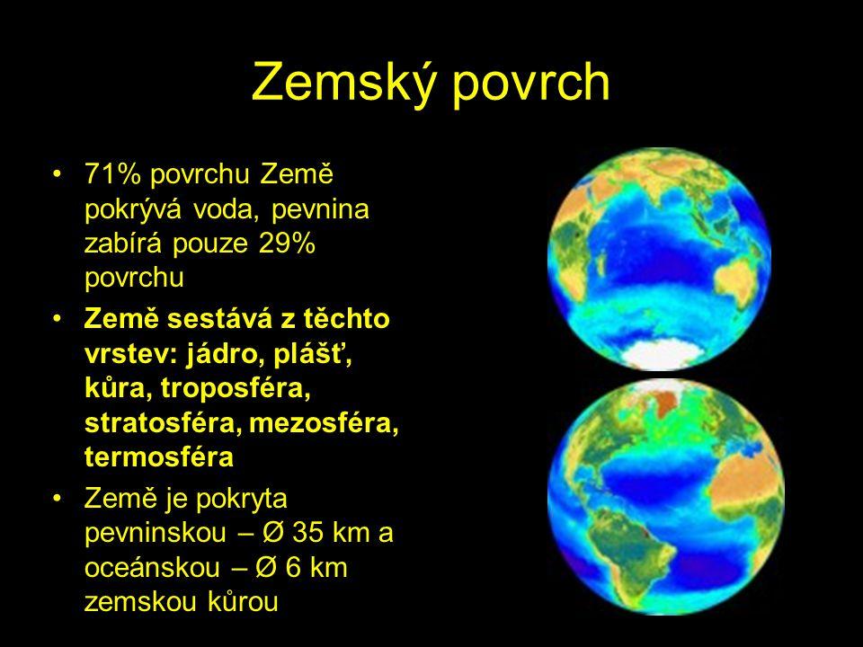 Zemský povrch 71% povrchu Země pokrývá voda, pevnina zabírá pouze 29% povrchu.