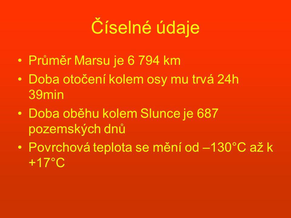 Číselné údaje Průměr Marsu je 6 794 km