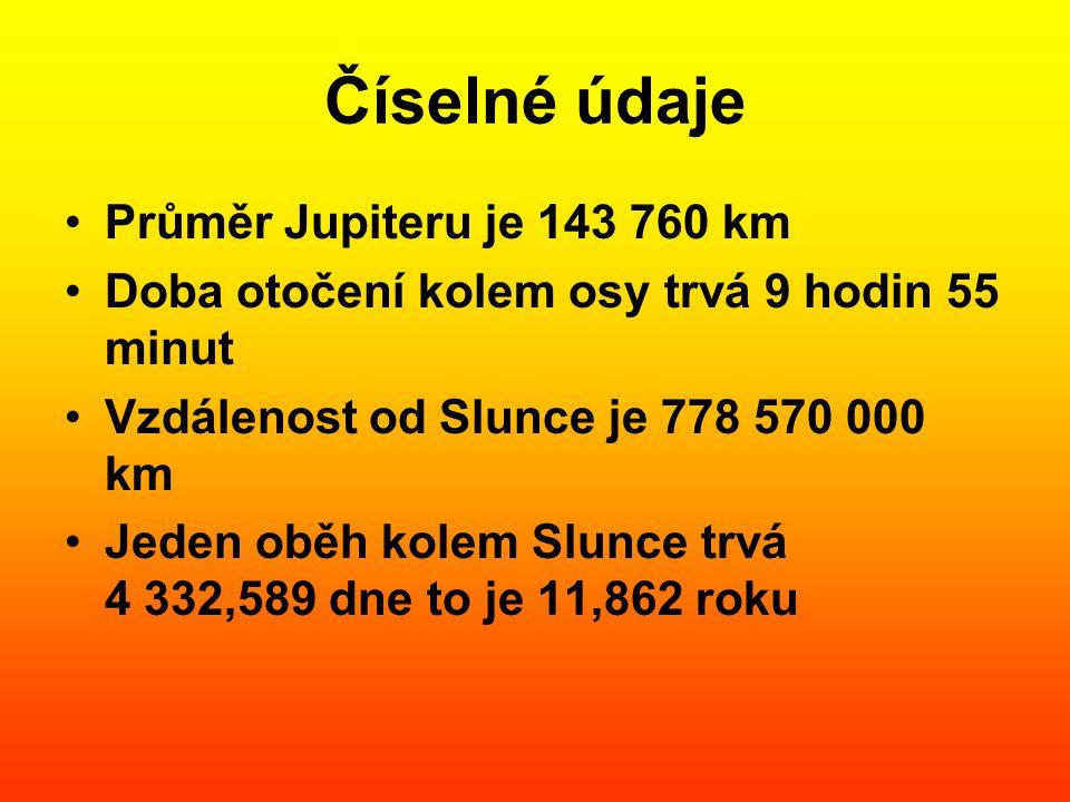 Číselné údaje Průměr Jupiteru je 143 760 km