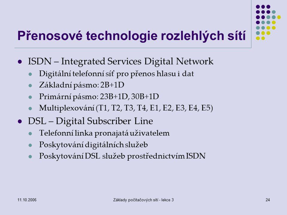 Přenosové technologie rozlehlých sítí
