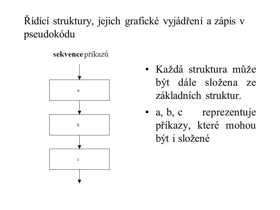 Řídící struktury, jejich grafické vyjádření a zápis v pseudokódu sekvence příkazů