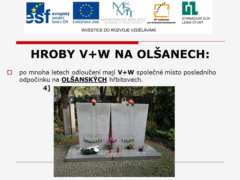 HROBY V+W NA OLŠANECH: po mnoha letech odloučení mají V+W společné místo posledního odpočinku na OLŠANSKÝCH hřbitovech.