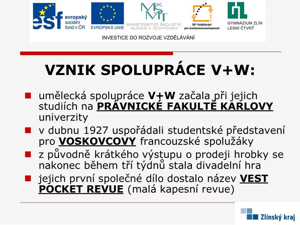 VZNIK SPOLUPRÁCE V+W: umělecká spolupráce V+W začala při jejich studiích na PRÁVNICKÉ FAKULTĚ KARLOVY univerzity.
