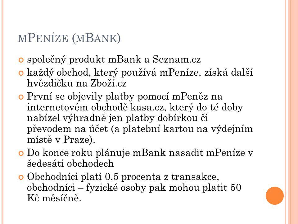 mPeníze (mBank) společný produkt mBank a Seznam.cz