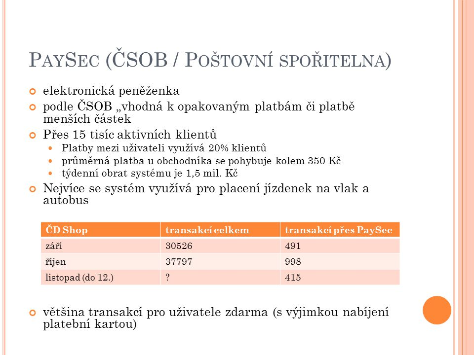 PaySec (ČSOB / Poštovní spořitelna)