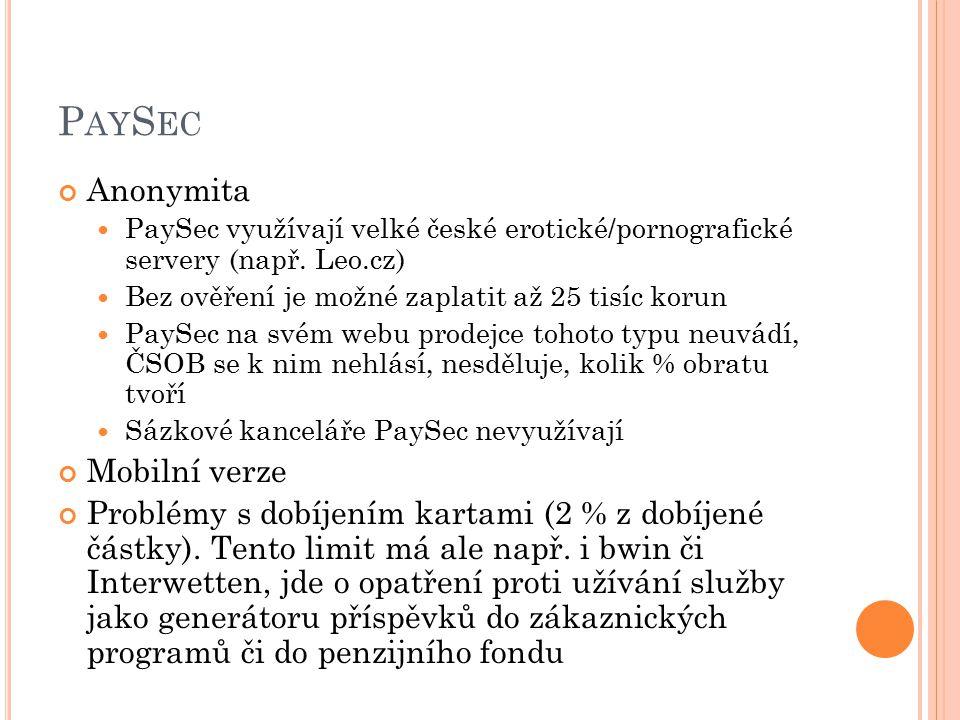 PaySec Anonymita Mobilní verze