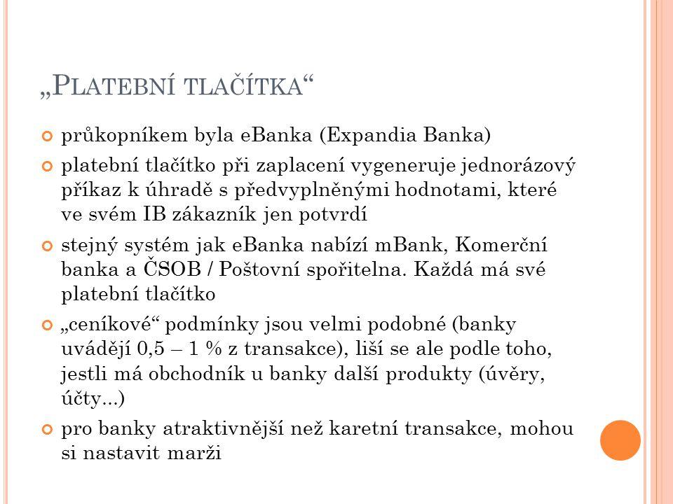 """""""Platební tlačítka průkopníkem byla eBanka (Expandia Banka)"""