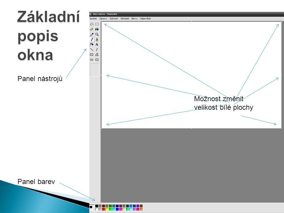 Základní popis okna Panel nástrojů Možnost změnit velikost bílé plochy