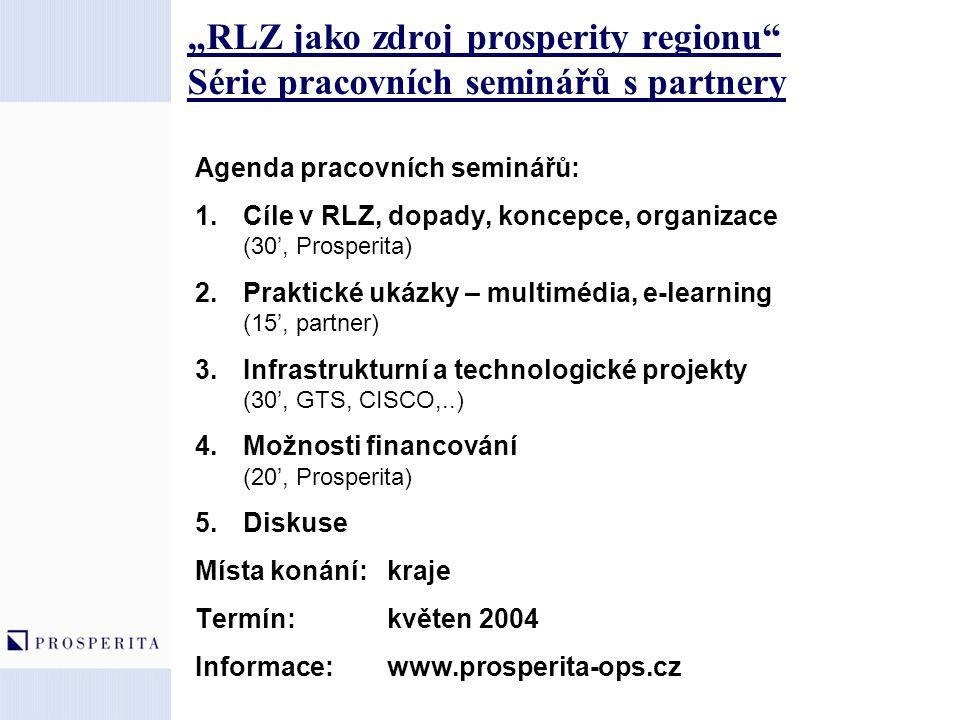 """""""RLZ jako zdroj prosperity regionu Série pracovních seminářů s partnery"""